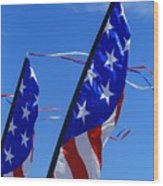 Patriotic Flying Kite Wood Print