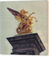Pegasus In Paris Wood Print