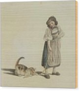 Girl With Cat Wood Print