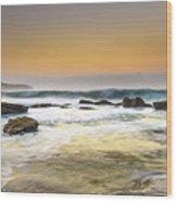 Hazy Dawn Seascape With Rocks Wood Print