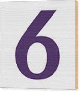 6 In Purple Typewriter Style Wood Print