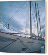 Newport Rhode Island Harbor With Tall Ships At Sunset Wood Print