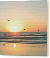 Ocean Sunrise Sunset Wood Print