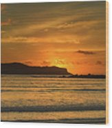Orange Sunrise Seascape Wood Print
