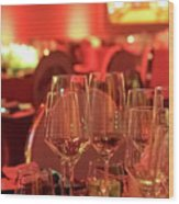 Party Setting With Colorful Bokeh Background Wood Print