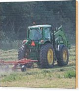 Raking Hay Wood Print