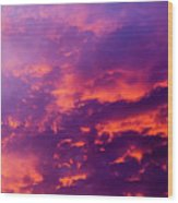 Red Cloudscape At Sunset. Wood Print