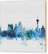 San Antonio Texas Skyline Wood Print