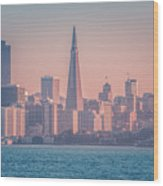 San Francisco California City Skyline At Spring Sunset Wood Print
