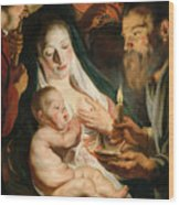 The Holy Family With Shepherds Wood Print