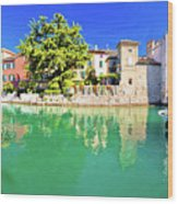 Town Of Sirmione Entrance Walls View Wood Print