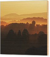 West Virginia Misty Mountain Sunrise Wood Print