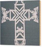 White Butterfly-cross Wood Print