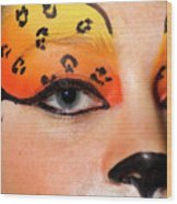 Young Female Model With Make Up Mask Wood Print