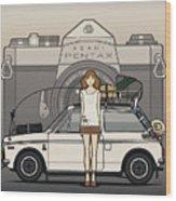 Honda N600 Rally Kei Car With Japanese 60's Asahi Pentax Commercial Girl Wood Print
