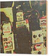 60s Cartoon Character Robots Wood Print