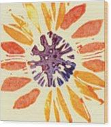 60's Sunflower Wood Print by Annie Alexander