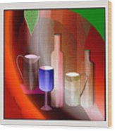 643  Still Life  With Bottles And  Cups  V  Wood Print
