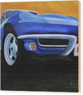 66 Corvette - Blue Wood Print