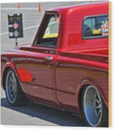 '67 Chevy C10 Awaits Green Light Wood Print