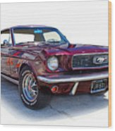 69 Ford Mustang Wood Print by Mamie Thornbrue