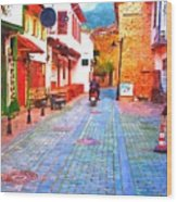 A Digitally Constructed Painting Of Cobbled Back Streets Of Kaleici In Antalya Turkey Wood Print