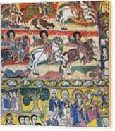Ancient Orthodox Church Interior Painted Walls In Gondar Ethiopi Wood Print