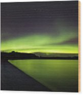 Aurora Borealis Over Iceland Wood Print