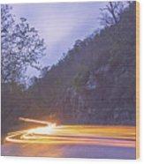 Automobile Traffic Long Exposure At Dusk In Pisgah National Park Wood Print