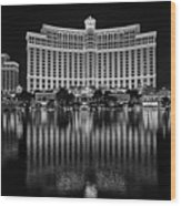 Bellagio Hotel And Casino At Night Wood Print