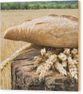 Bread And Wheat Cereal Crops. Wood Print by Deyan Georgiev