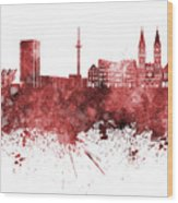 Bremen Skyline In Watercolor Background Wood Print