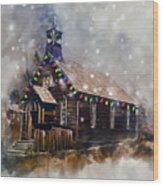 Church At Christmas Wood Print