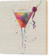 Cocktail Drinks Glass Watercolor Wood Print