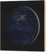 Full Earth At Night Showing City Lights Wood Print