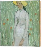 Girl In White Wood Print