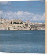 La Valletta Old Town Fortifications Architecture Scenic View In  Wood Print