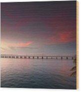 7 Mile Bridge Sunset Wood Print