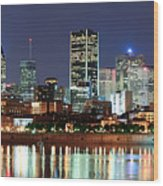 Montreal Over River At Dusk  Wood Print