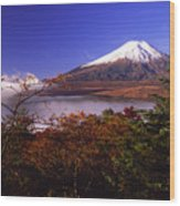 Mount Fuji In Autumn Wood Print