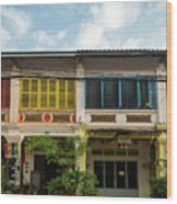 Old French Colonial Architecture In Kampot Town Street Cambodia Wood Print