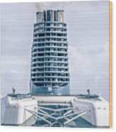On Deck Of Huge Cruise Liner Ship From Seattle To Alaska Wood Print