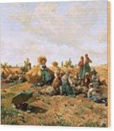 Peasants Lunching In A Field Daniel Ridgway Knight Wood Print