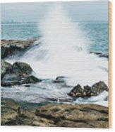 Rocks And Waves At Point Cartwright  Wood Print