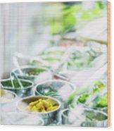 Salad Bar Buffet Fresh Mixed Vegetables Display Wood Print