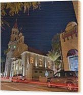 St Augustine City Street Scenes Atnight Wood Print