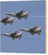 The U.s. Air Force Thunderbirds Fly Wood Print by Stocktrek Images