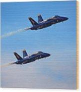 U S Navy Blue Angeles, Formation Flying, Smoke On Wood Print