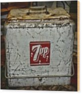 7 Up Vintage Cooler Wood Print