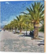 Walkway In Nafplio Town Wood Print